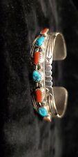 Navajo  Indian Sterling Silver Turquoise Coral 7 Stone Bracelet - Julie Slinkey