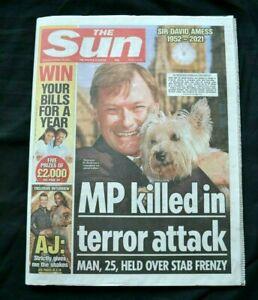The Sun UK Newspaper 16/10/21 October 16th 2021 Sir David Amess MP Death