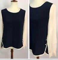 Diane von Furstenberg Top Navy Blue Beige Silk Size 4 Women's