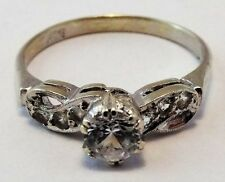 Ring Cubic Zirconia White Gold Vintage & Antique Jewellery