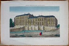 Vue d'optique Gravure + aquarelle du 18e siècle Chateau de Saint CLOUD