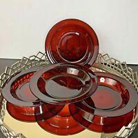 Arcoroc Ruby Red Rim Bowls Soup Salad Pasta France Set of 4 Vintage #EL025
