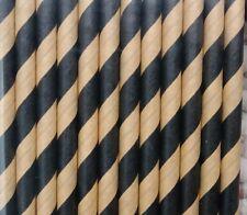 Kraft Brown and Black Striped Paper Straws 12 pack