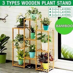 6/8/9 Tier Wood Flower Plant Stand Rack Shelf Display Indoor Outdoor Home Garden