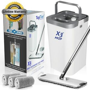 X3 Flat Floor Mop and Bucket Set for Hands Free Home Floor Cleaning, 3-Pads