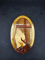 Handcrafted Wooden Praying Hand With Cross Trinket Box Or Puzzle