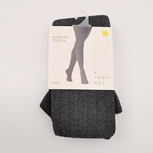 Sweater Tights S / M Dark Gray Textured Footer Essentials Charcoal New