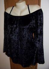 L  top off the cold shoulder cami mock velvet blouse 11 13 fest REN SCA LG black
