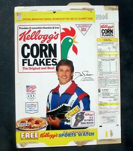 Kellogg's Corn Flakes Flattened Cereal Box 1992 Dan Jansen Olympic Team Watch