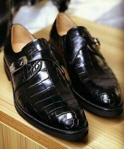 Men's Handmade Leather Shoes Monk Crocodile Texture Leather Men Black Shoes