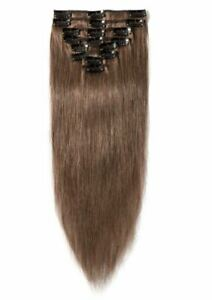 """S-Noilite 8 Pcs Straight Clip In Remy Human Hair Extensions #6 Light Brown 16"""""""