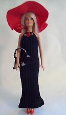 Handmade for Barbie Doll - Black Knit Evening Dress Ensemble