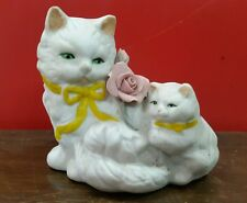 RARE OLD ANTIQUE PAPER PORCELAIN FAMILY CAT MADE IN JAPAN .RARE