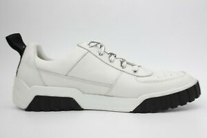 DIESEL S-Rua Mens Low Top Sneaker in Paneled Leather White and Black Size 10 New
