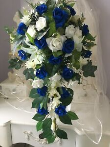 Large Bridal teardrop/shower bouquet in Royal blue and Ivory
