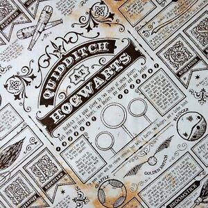 Harry Potter Quidditch Newspaper Taupe Cotton Fabric, per 50cm JK Rowling Snitch