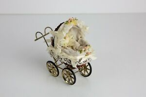 Vintage Miniature Wicker Metal Lace Stroller / Carriage / Pram for Small Dolls