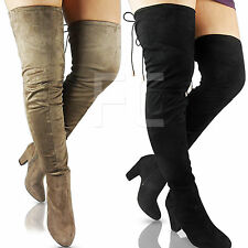 NEW WOMEN LADIES STRETCH LOW MID HEEL BLOCK THIGH OVER KNEE BOOTS PARTY SIZE ZIP