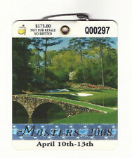 2008 Masters Augusta National Golf Club Badge Ticket Trevor Immelman Wins PGA