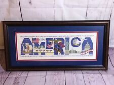 America Flags Cross Stitch Embroidery Completed & Framed - Statue of Liberty