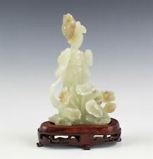 Chinese Export Carved Green Celadon Jade Kwan Yin Buddha Floral Stone Sculpture
