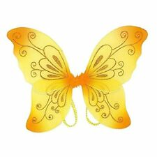 Sparkling Yellow Fantasy Butterfly Fairy Wings Tinkerbell Kids Costume Accessory