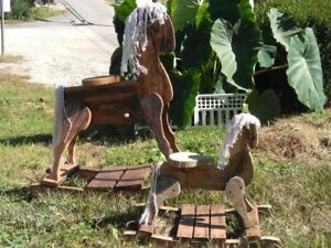 Amish Made Authentic Wooden Rocking Horse-Solid Oak. Handmade.  Family Heirloom
