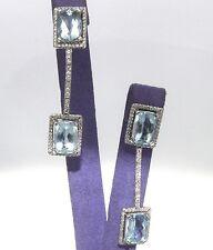 Well Made 18K White Gold 15.00 ctw. Diamond Blue Aquamarine Earrings 13.00 gram