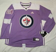 Winnipeg Jets NEW Official ADIDAS Purple Hockey Fights Cancer practice jersey