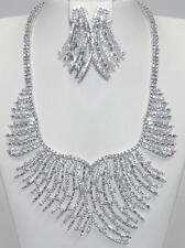 """AMAZING CUBIC ZIRCONIA BRIDAL-CLUSTER STRAND NECKLACE & EARRING SET-18"""""""
