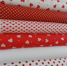 Bundle 6 fat quarters valentines romantic hearts and spots red white 100% cotton