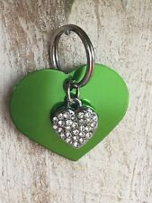 Personalized PET ID TAGS  ENGRAVED DOG CAT NAME TAG Green Heart W/ Bling Heart