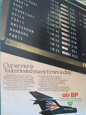 9/1973 PUB AIR BP TRIDENT AIRLINER BRITISH AIRWAYS BEA AIRLINE ORIGINAL AD