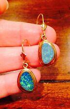 Gorgeous!! Vintage Pair Natural Boulder Opal Dangle Drop Earrings 14k Gold