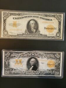 LOT OF 4 GOLD NOTES. 2 LARGE AND 2 SMALL $100 AND $20 BILLS