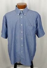 Croft & Barrow Men's Short Sleeve Button Front Shirt Blue Cotton Blend 17.5-18