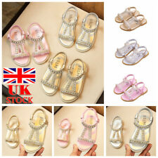 Kids Girls Princess Crystal Sandals Flats Toddler Summer Party Casual Shoes Size