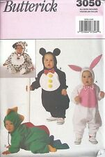 Butterick Sewing Pattern #3050 Baby Costume Puppy Mouse Bunny Dinosaur All Szs