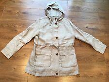 Ladies Beige Zip up Linen Jacket With Hood , Land' End Size S Petite