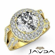 Halo Pave Round Diamond Gorgeous Engagement Ring GIA H VS2 18k Yellow Gold 2.6ct