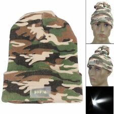 Warm Men Hat LED Lights Camouflage Winter Beanie Knitted Safety Army Cap