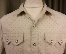 Levi's 100% Cotton Slim Fit Western Sawtooth Pocket Cream Ivory Shirt  L C41-43""