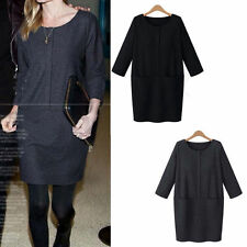 Women's Thigh-Length 3/4 Sleeve Cotton Blend Casual Dresses