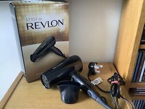 BNIB Revlon Powerdry 2000 Hair Dryer, Black, 2000W, 3 Settings, Nozzle