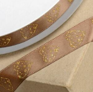 BROWN SATIN RIBBON WITH GOLD GLITTER HEART 15mm x 25 METERS FULL REEL CRAFT