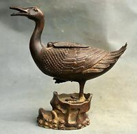 "10""Vieille Chine Rouge Bronze Dynastie AnimaL Canard Zun Encensoir Encensoir"