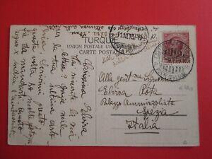 1913 REGNO cartolina + annullo CASTANTINOPOLI (PARTENZE) POSTE ITALIANE x SPEZIA
