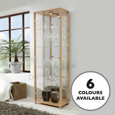 HOME Glass Display Cabinet Double Beech 4 Shelves Mirror Light