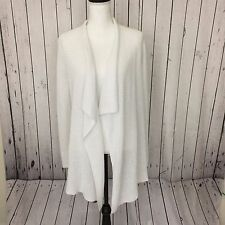 NEW Eileen Fisher Womens Cardigan White Drape Front Organic Linen Sz M MSRP $278