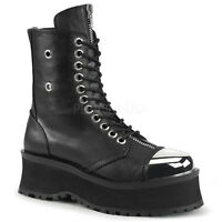 Demonia Mens Gothic Goth Punk Rock Metal Biker Metal Toe Cap Vegan Leather Boots